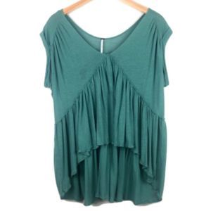 Free People Teal Draped Short-Sleeve Tunic Top